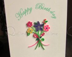 Paper quilling bouquet Mother's day card with by PaperDaisyCards