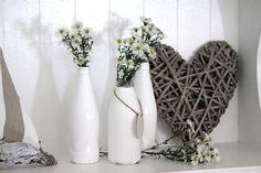 Twig heart & white glass.