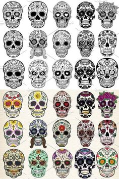 """Tradicionalmente, los tatuajes (tattoo) de calaveras mexicanas han simbolizado la muerte con una """"M"""" mayúscula, ¡pero no de una manera siniestra o negativa! Si hay un hecho innegable en este planeta, es que ningún ser humano escapa de la Parca, por rico o famoso que sea.! Mexican Skull Tattoos, Sugar Skull Tattoos, Mexican Skulls, Day Of The Dead Skull Tattoo, Skull Girl Tattoo, Sugar Skull Girl, Sugar Skulls, Body Art Tattoos, Sleeve Tattoos"""