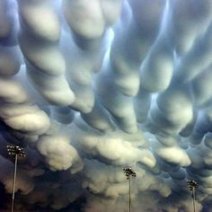 Mammatus clouds over Nebraska, an after effect of tornadoes looks like shaving cream