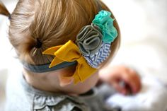 Gorgeous handmade sailor flower headband in mustard, spearmint, and gray.