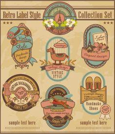 cartoon retro label    vector