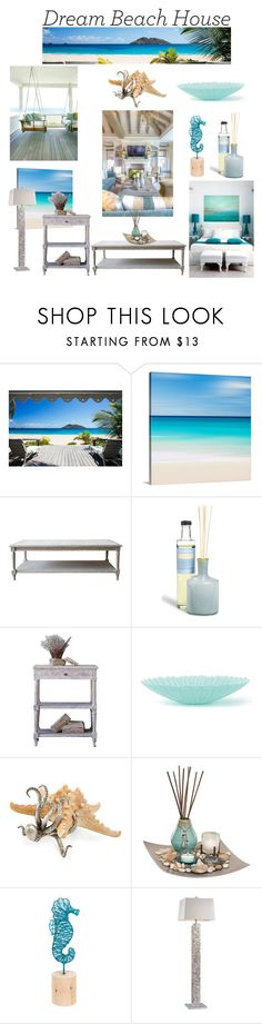 """Vacation Vibes: Dream Beach House"" by rmhodgdon ❤ liked on Polyvore featuring interior, interiors, interior design, home, home decor, interior decorating, LAFCO, San Miguel, Midwest of Cannon Falls and beachhouse"