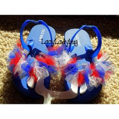 "www.facebook.com/LacyLadybug   Patriotic or 4th of July ""fluffy feet"" embellished flip flops :)"