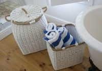 RATTAN THICK WHITE WITH ROPE Rattan, Wicker, Shop Ideas, Laundry Basket, Baby Shoes, Decor, Decoration, Baby Boy Shoes, Decorating