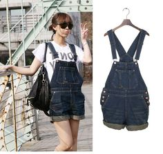 2013 Summer Fashion Women Denim Overalls Shorts Bib pants Jeans Suspenders Jumpsuits Romper dark color roll up Female V027 S,M,L-inJeans from Apparel  Accessories on Aliexpress.com $19.50