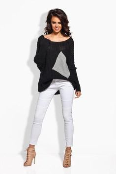 Plus Size Black Sweater With Pockets LAVELIQ