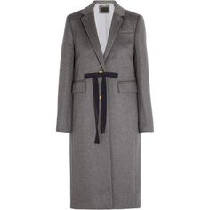 J.Crew Collection Olivia wool and cashmere-blend coat (56350 RSD) ❤ liked on Polyvore featuring outerwear, coats, grey, gray coat, grey wool coat, cashmere blend coat, woolen coat and bow coat