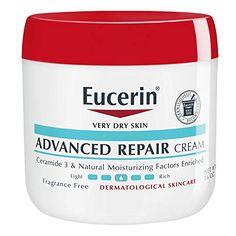 Eucerin Advanced Repair Cream – Fragrance Free, Full Body Lotion for Very Dry Skin – 16 oz. Lotion For Dry Skin, Cream For Dry Skin, Dry Skin Symptoms, Creme, Dry Sensitive Skin, Flaky Skin, Pores, Skin Care, Amazon