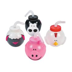 Kids who are learning what sounds animals make will love these Farm Animal Molded Cups with Lids & Straws. Use as birthday favors for a farm or animal themed . Farm Animal Party, Farm Animal Birthday, Farm Birthday, Birthday Parties, Birthday Favors, Birthday Ideas, Petting Zoo Birthday Party, Birthday Banners, Fourth Birthday