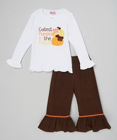 Look at this HH & Me White 'Cutest Pumpkin' Shirt & Corduroy Pants - Toddler & Girls on #zulily today!