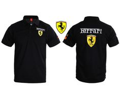 Genuine F1 Motor Sport Ferrari Shield Black Polo Shirt Size (M)