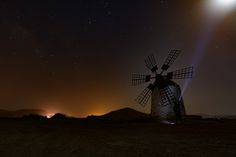 Moonbeam by Ernst Gamauf on Canary Islands, Light Painting, Milky Way, Nature Pictures, Natural Wonders, Wind Turbine, Northern Lights, Spain, Sky