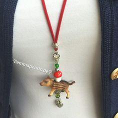 ♡HANDMADE BY EMMA PEARLS♡  Dirndl,-/Trachtenschmuck, Frischling rot/grün für's Oktoberfest