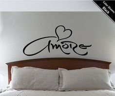 Amore Wall Decal Love Heart Bedroom Living Room Removable Vinyl Wall Quote Saying sticker