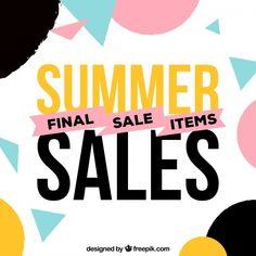 幾何学的形状を持つ夏の販売の背景 無料ベクター
