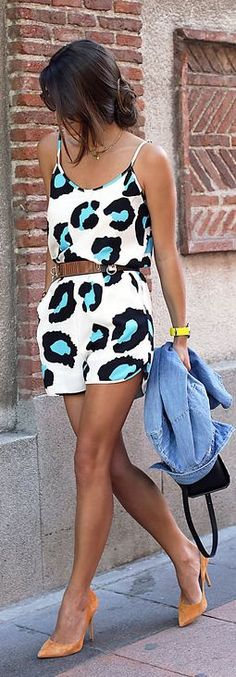 Fashion Pills White Animal Print Spaghetti Strap Belted Loose Playsuit by Seams For a Desire