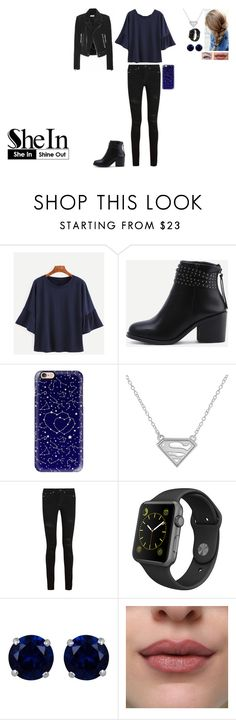"""Navy Bell Sleeve T-shirt in SheIn!"" by leacousty55 ❤ liked on Polyvore featuring Casetify, Yves Saint Laurent, Apple, Reeds Jewelers and Balenciaga"