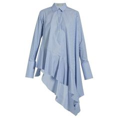 Palmer//harding Asymmetric ruffled-hem cotton shirt ($301) ❤ liked on Polyvore featuring tops, light blue, light blue shirt, stripe crop top, light blue top, flounce crop top and ruffle crop top