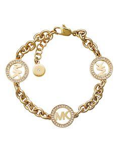 New Michael Kors Gold Tone Fulton MK Logo Chain Link Bracelet online shopping - Thepretty Michael Kors Armband, Michael Kors Schmuck, Michael Kors Jewelry, Handmade Jewelry Bracelets, Rose Jewelry, Link Bracelets, Bangle Bracelet, Simple Jewelry, Gold Jewellery