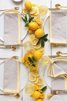 Brunch Decor, Brunch Table, Dinner Table, Picnic Table, Linen Napkins, Napkins Set, Lemon Centerpieces, French Picnic, Lemon Party