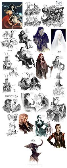Thor sketchdump III by *Phobs on deviantART