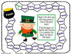 FREE is one of my favorite words! Three sight word game boards that are perfect for First and Second Graders. * St. Patricks Day Theme * Spring Bird Theme * Monster Theme
