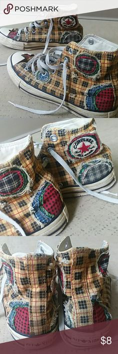 Patchwork plaid Chuck Taylor  Converse high tops Patchwork Chuck Taylor high tops. These are very used. Awesome looking converse. I would keep but they are too small. They are a women's 7 or a mens 5. They are a gold colored plaid with patchwork detail all over. The rubber in the front is cracking off. See pic. Very used but still wearable. Converse Shoes Sneakers