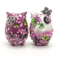 wow  purple floral owls