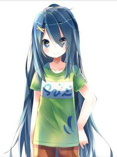 Anime girl with blue hair
