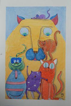 Illustrazione ad acquarello Il grande gatto di LabLiu su Etsy