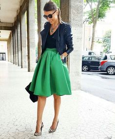 LOVE THIS. Everything (not usually a leopard fan, but it works here). Love the green of the skirt, the shape - all of it. Not sure I can get away with the fullness of it though.