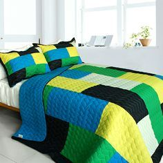green blue minecraft blocks bedding uk | Minecraft Patchwork Teen Boy Bedding Full/Queen Quilt Set Green Blue ...