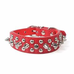 cat collar,Pikolai Adjustable PU Leather Rivet Spiked Studded cat Puppy Dog Collar Neck Strap (S: 2.5cm37cm, Red) -- Check this awesome image  : Cat Collar, Harness and Leash
