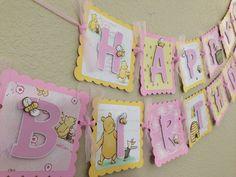 Winnie the Pooh Birthday Banner Girl Classic by CelebrationBanner