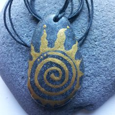 Stone amulet for wearing or hanging anywhere in by DottyRoxAndMore
