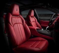 GTS black and red sport seats detail. Maserati AustraliaLevante GTS black and red sport seats detail. Red Interior Car, Maserati Interior, Maserati Suv, Maserati Quattroporte, Maserati Ghibli, Luxury Interior, Interior Ideas, Cafe Interior, Leather Interior