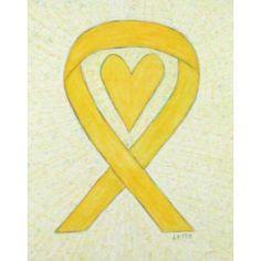 Heart Yellow Bone Cancer Awareness Ribbon