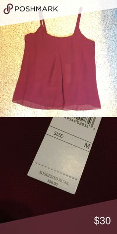Beautiful Wine Colored Tank Top BNWT -- 100% polyester -- [necklace available in separate listing] ABS Allen Schwartz Tops