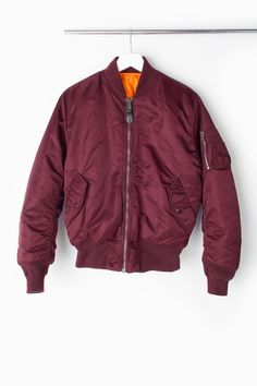 Alpha Industries MA-1 Flight Jacket in Maroon featured on Racked, 'If You Buy One Thing for Spring, Make it This'