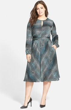 Classiques Entier® Print Stretch Silk Dress (Plus Size) available at #Nordstrom