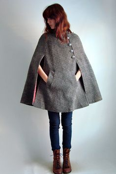 Gray wool cape - love the buttons