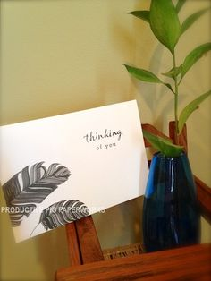 """Simple black and white paper feathers """"Thinking of You"""" card Personalized Cards, Paper Feathers, White Paper, Thinking Of You, Black And White, Simple, Thinking About You, Personalised Cards, Black N White"""
