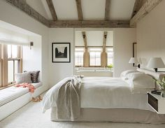 Minimalist modern farmhouse master bedroom.