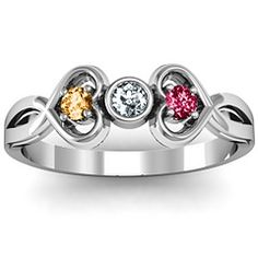 Twin Hearts with Center Bezel  Ring #jewlr