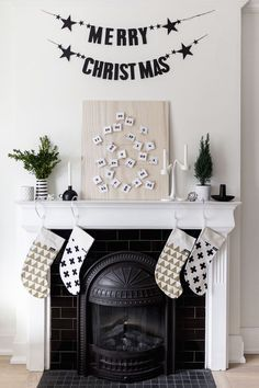 Printable Scandinavian-inspired advent calendar + christmas fireplace mantle decor