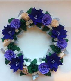 Christmas Wreath, Felt Wreath, Purple Wreath, Handmade Wreath by juliettesdesigntr on Etsy https://www.etsy.com/listing/562984402/christmas-wreath-felt-wreath-purple