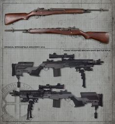 Socom II from Springfield Armory that has undergone an extreme makeover at the hands of the Brown Safe Ballistic Division Battle Rifle, Springfield Armory, Submachine Gun, Fire Powers, Cool Guns, Military Weapons, Guns And Ammo, Firearms, Shotguns