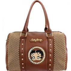 This Official Betty Boop® Bling Studded Handbag features: - Betty Boop® encircled in rhinestones with goldtone nameplate. - Rows and rows of gold studs line the sides with linear rhinestone accents. -