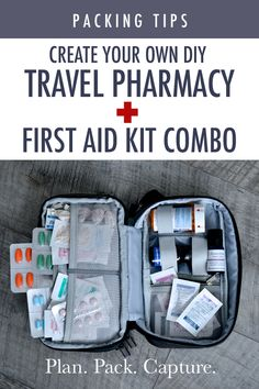 Everything you could need to create your own perfect DIY Travel Pharmacy and Travel First Aid Kit. Everything you could need to create your own perfect DIY Travel Pharmacy and Travel First Aid Kit. First Aid Kit Travel, Diy First Aid Kit, Camping First Aid Kit, Emergency First Aid Kit, Emergency Preparedness Kit, Travel Kits, Packing Tips For Travel, Make Your Own First Aid Kit, Travel Ideas
